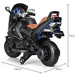 Детский электромобиль мотоцикл Kawasaki с надувными колесами, черный, фото 5