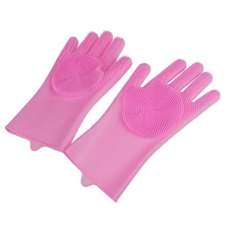 Силиконовые перчатки для мытья посуды, цвет розовый Товар с флаера!, фото 2