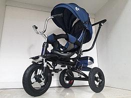 Трехколесный велосипед с родительской ручкой. Надувные колеса. Спинка откидывается.