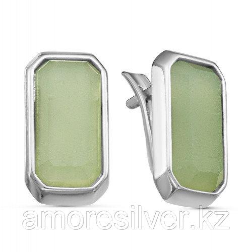 Серебряные серьги с натуральным нефритом  Красная Пресня 33310914Дн