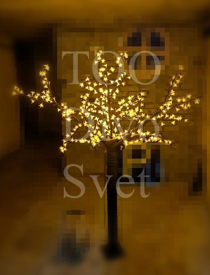 """Светодиодное дерево """"Сакура"""" 1.7м высота, желтого цвета. Декоративное уличное led дерево."""