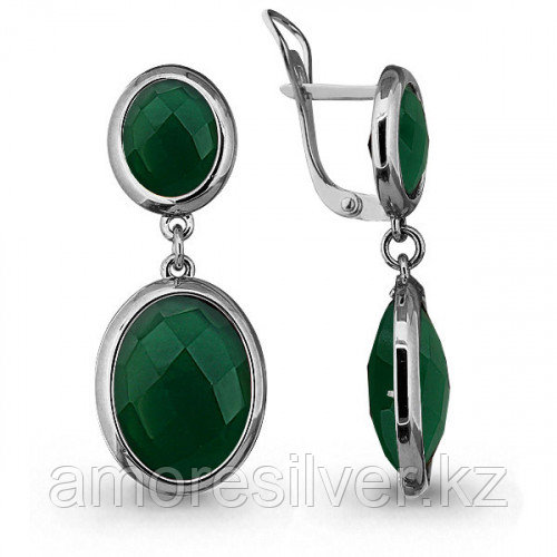 Серьги из серебра с агатом зелёным  Aquamarine 4441209,5