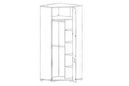 Шкаф для одежды угловой 1Д , коллекции Ацтека, Белый Блеск, БРВ Брест (Беларусь), фото 2