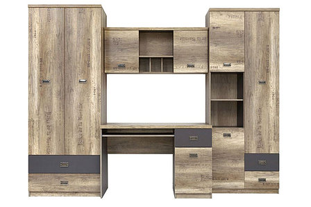 Шкаф для книг навесной 2Д  как часть комплекта Малкольм, Дуб Каньон, БРВ Брест (Беларусь), фото 2