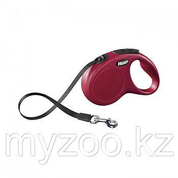 Рулетка для собак Flexi New Classic, L, лента, 5 м, 50 кг. Цвет красный.