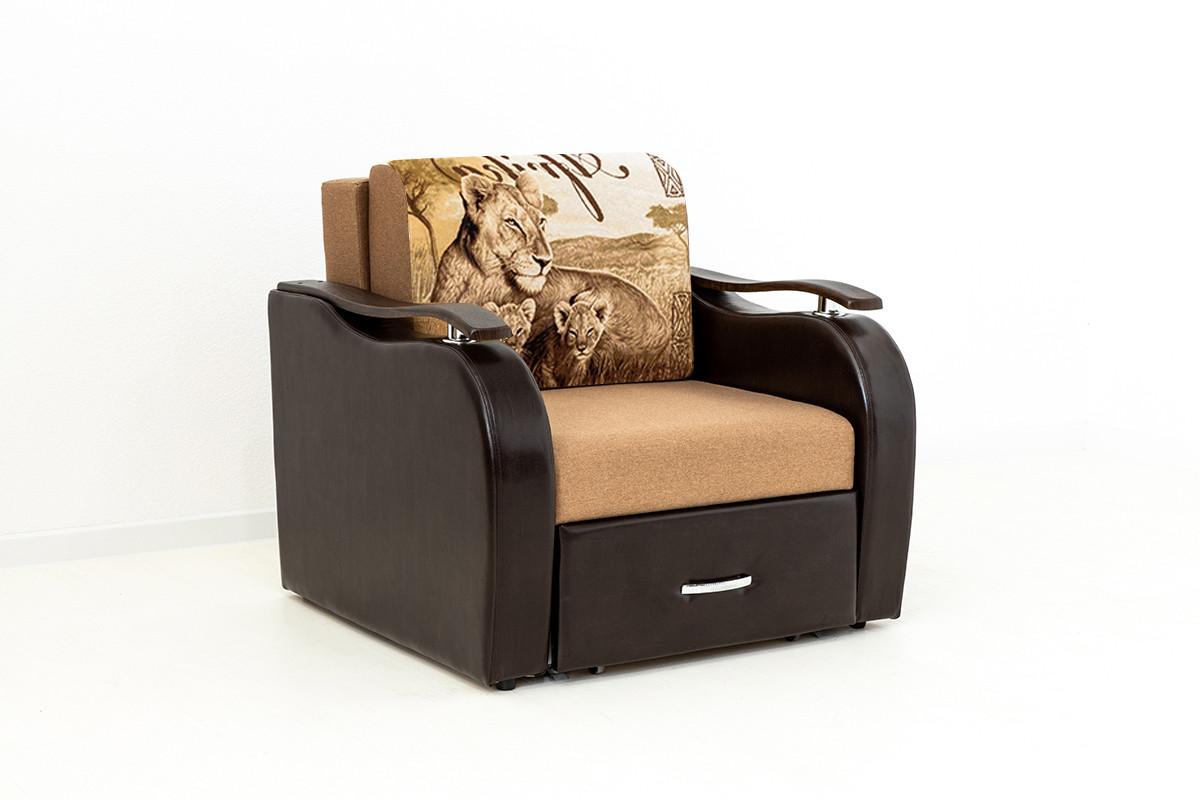 Кресло-кровать раскладной Аквамарин 7, ОК06/КупонАфрикаЛьвы/MOBI11, АСМ (Россия) - фото 2