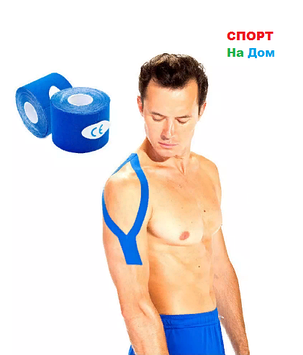 Кинезио тейп Jincheng Sports (цвет синий) - пластырь для поддержки мышц 5 см х 5 м, фото 2