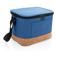 Двухцветная сумка-холодильник с пробковой отделкой, синий, Длина 23,5 см., ширина 16 см., высота 16,4 см.,