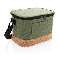 Двухцветная сумка-холодильник с пробковой отделкой, зеленый, Длина 23,5 см., ширина 16 см., высота 16,4 см.,