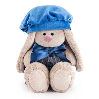 """Мягкая игрушка """"Zaika Mi"""" Зайка Ми в сером комбинезоне с синим беретом (малыш)"""