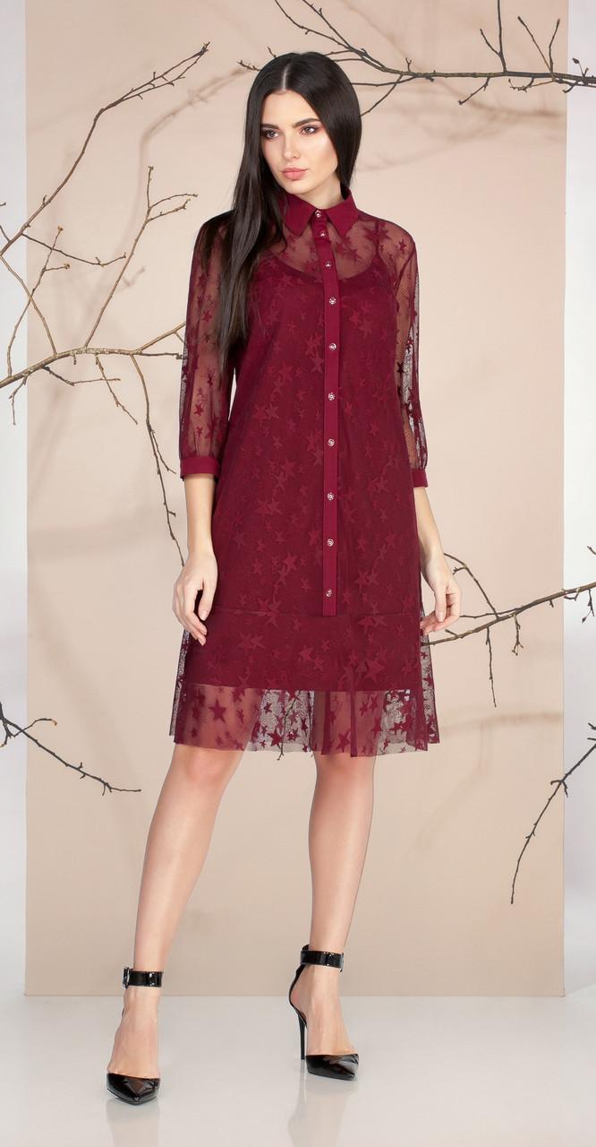 Платье Ивелта плюс-1658, бордо, 44