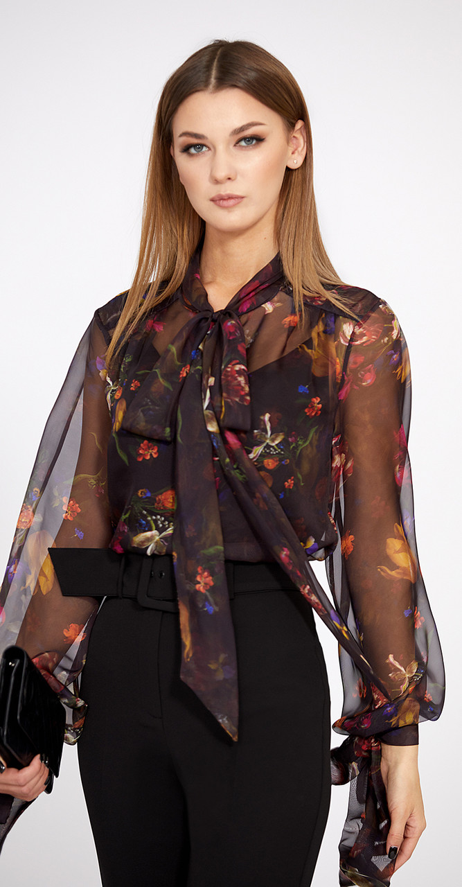 Блузка EOLA-1750, чёрный в цветы, 42