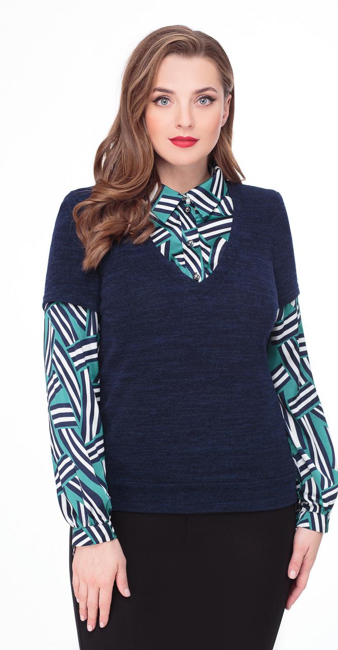Блузка Дали-5061, темно-синий с зеленью, 48