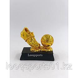 Наградная футбольная статуэтка золотая бутса с мячом