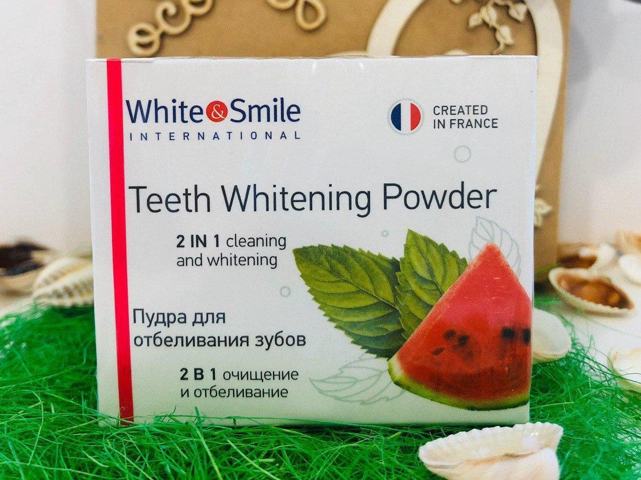"Отбеливающая пудра для зубов 2в1 со вкусом ""Арбуза"" от White&Smile"