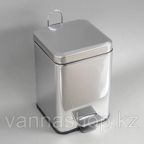 Урна педальная Хром квадратная 12 литров