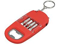 Брелок-открывалка с отвертками и фонариком Uni, софт-тач, красный