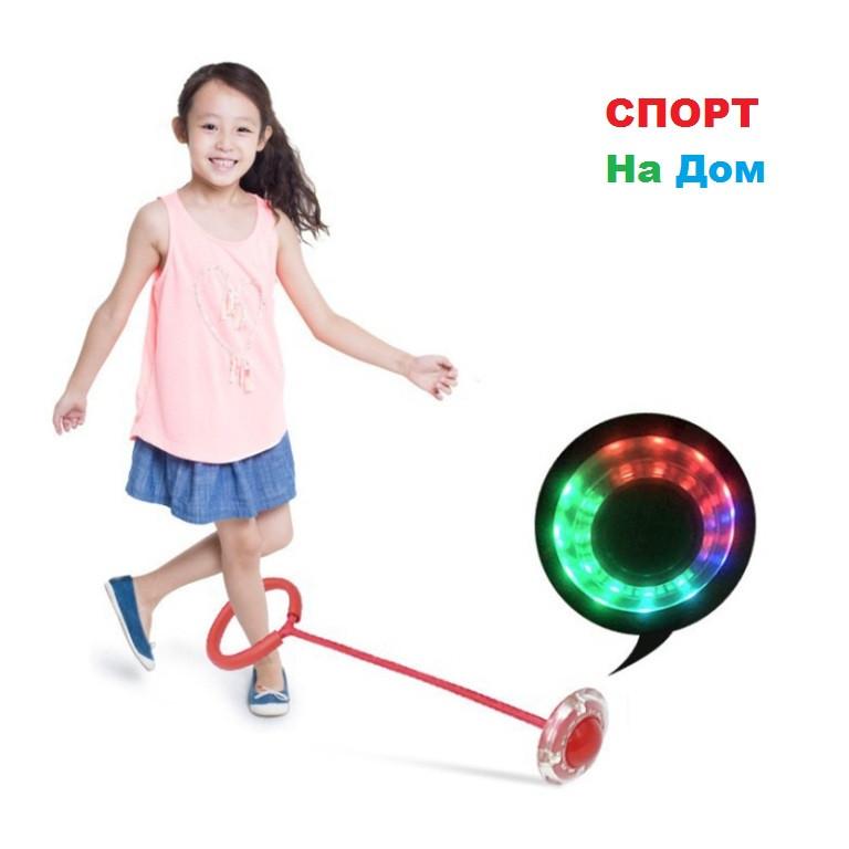 Скакалка на одну ногу со светящимся роликом для веселых прыжков (Красный)