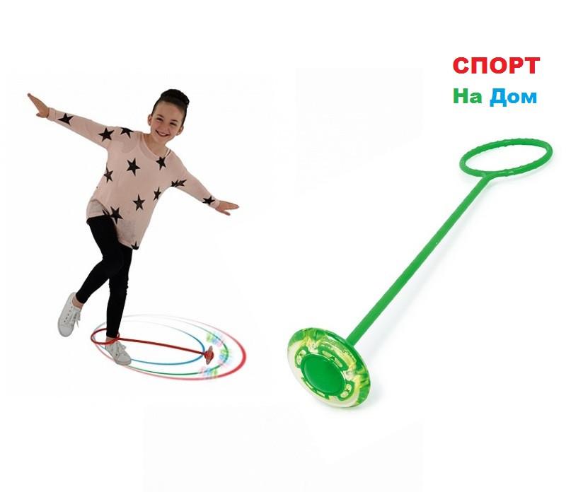 Скакалка на одну ногу со светящимся роликом для веселых прыжков (Зеленый)