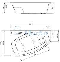 Акриловая гидромассажная ванна Ассоль 160х100х68 см.(Общий массаж), фото 2