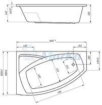 Акриловая гидромассажная ванна Ассоль 160х100х68 см.(Общий массаж, спина), фото 2