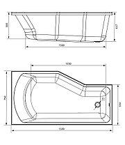 Акриловая ванна Marka One Convey 150x75 (Правая) (Полный комплект) Ассиметричная. Угловая, фото 2