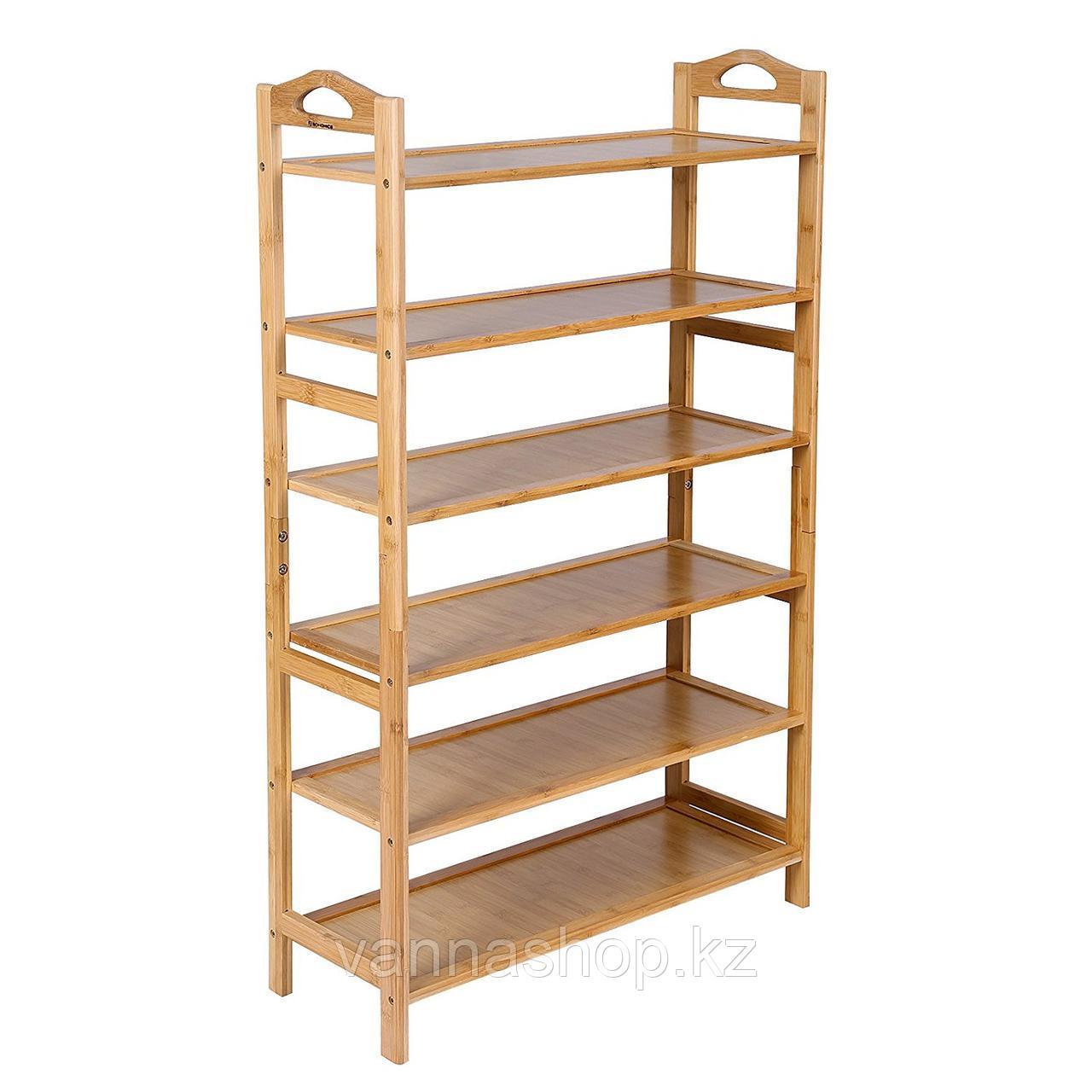 Этажерка для обуви закрытый бамбук 6 полок