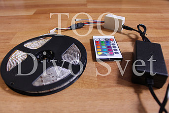 Led лента SMD 5050 12v IP65, 60 диодов/метр (комплект) RGB разноцветная, катушка 5м, герметичная самоклеющаяся