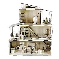 Сказочный кукольный домик из фанеры с мебелью (деревянный)