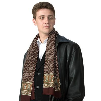 Кашне мужские шелк-шерсть 27×140