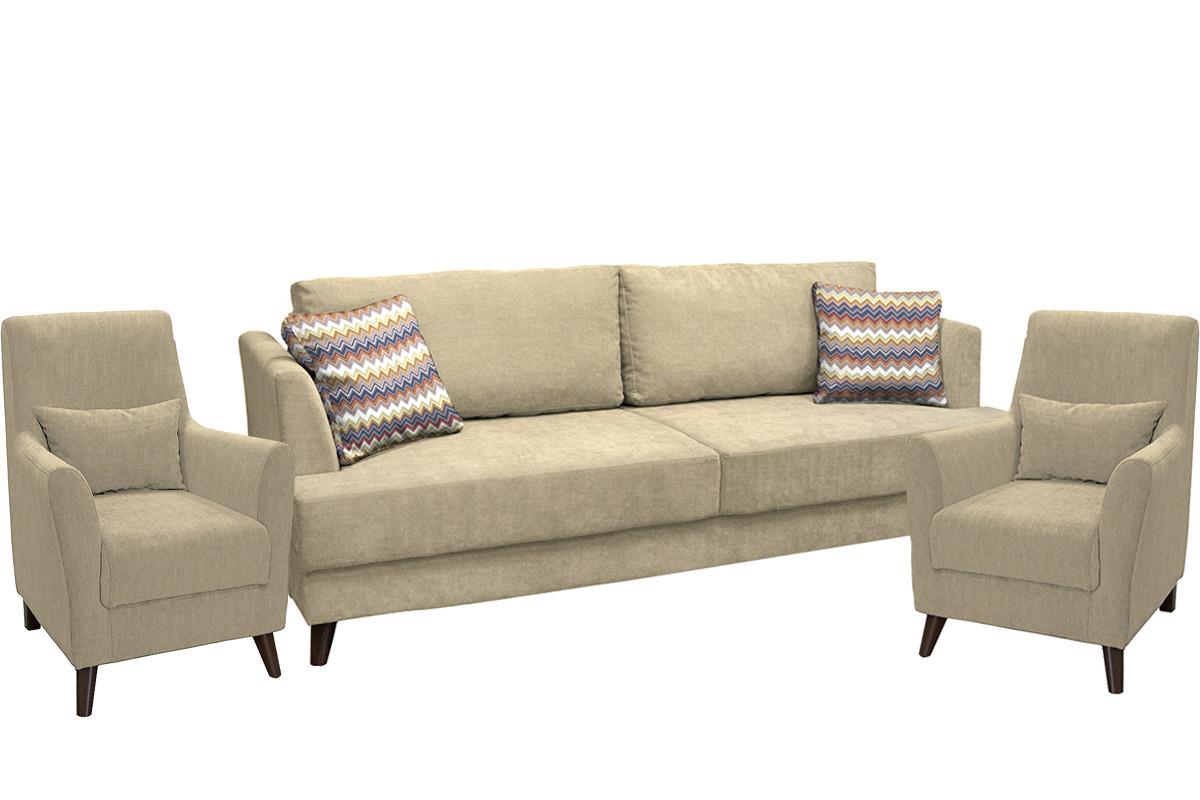 Комплект мягкой мебели Дамаск, Бежевый, Нижегородмебель и К(Россия)