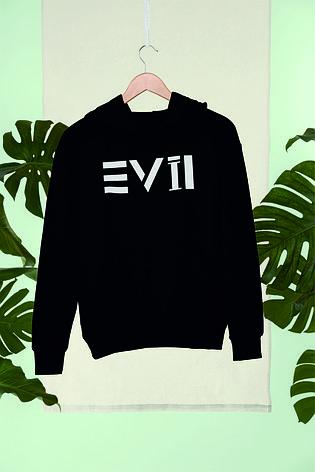 Худи черный c зеркальным принтом Live(evil), фото 2