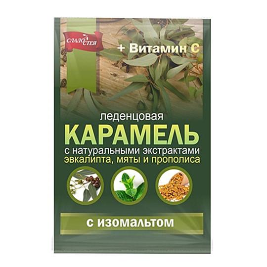 Карамель мини с натуральными экстрактами эвкалипта, мяты и прополиса, с витамином С 50г