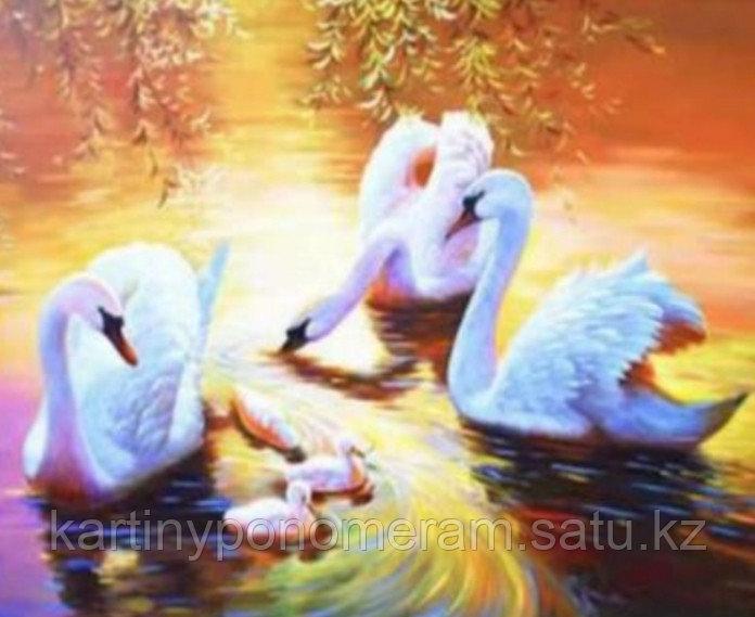 "Картины по номерам  ""Лебеди с лебедятами"""