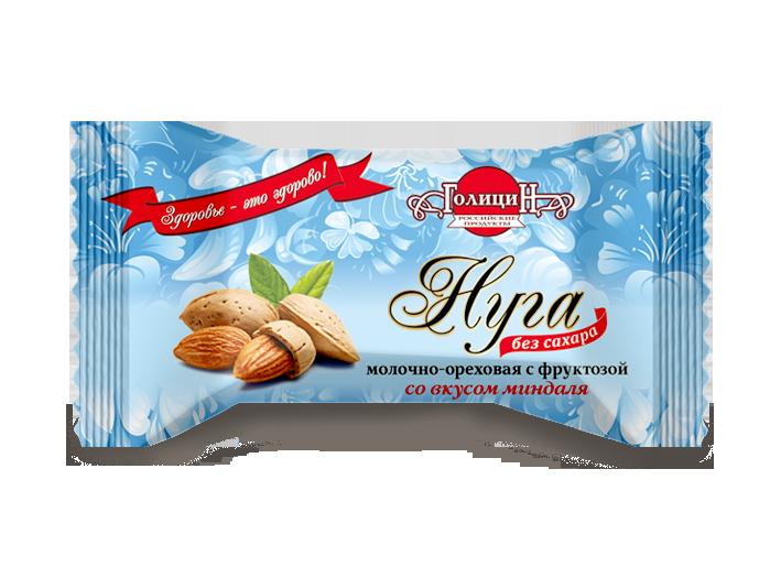Конфеты «Нуга молочно-ореховая с фруктозой со вкусом миндаля» фасовка 180 г