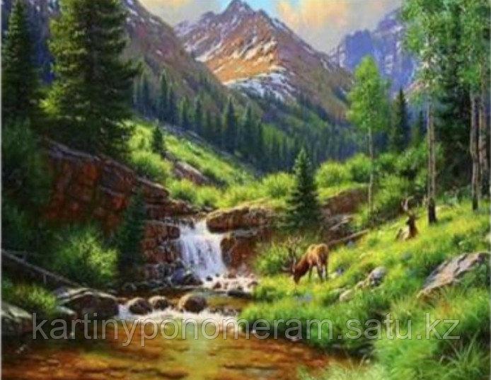 "Картины раскраски по цифрам ""Олени у реки"""