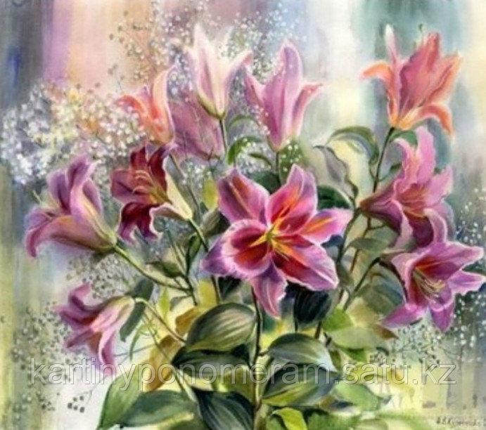 """Картина по номерам """"Букет розовых лилий"""""""