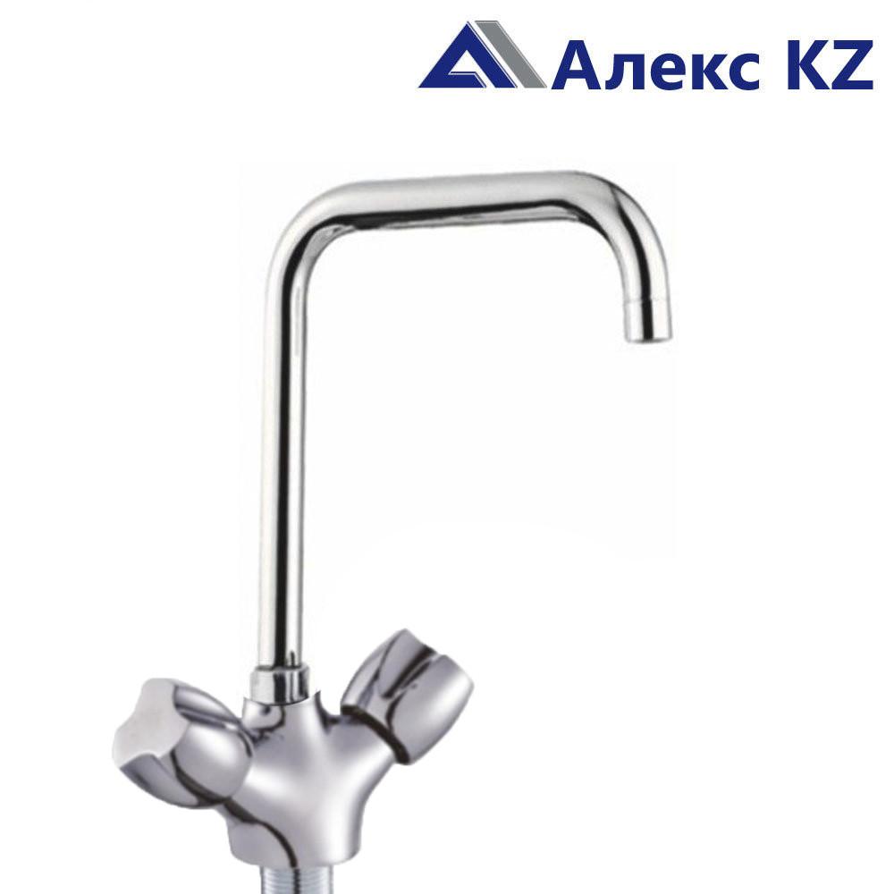 Смеситель KOLAG 1857 двуручный для кухни с высоким поворотным изливом