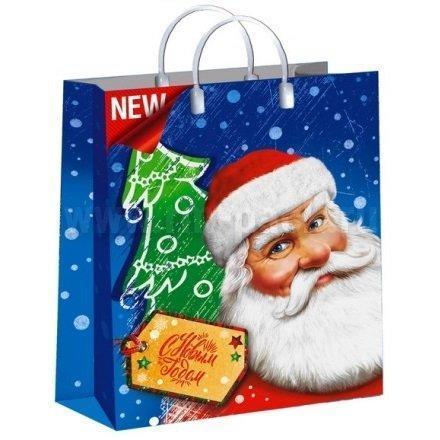"Пакет мягкий пластик лам. 40х30см, 150мкм, с пл. ручкой, ""Дед Мороз с усами"", фото 2"