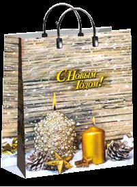 "Пакет мягкий пластик лам. 40х30см, 150мкм, с пл. ручкой, ""Сезон подараков"", фото 2"