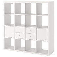 Стеллаж с 4 вставками КАЛЛАКС белый 147x147 см ИКЕА, IKEA, фото 1