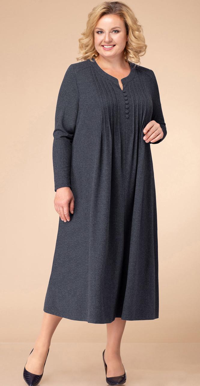 Платье Линия-Л-1744/3, серо-синий, 60