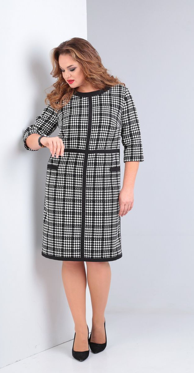 Платье Andrea Style-00228, черно-белый, 52