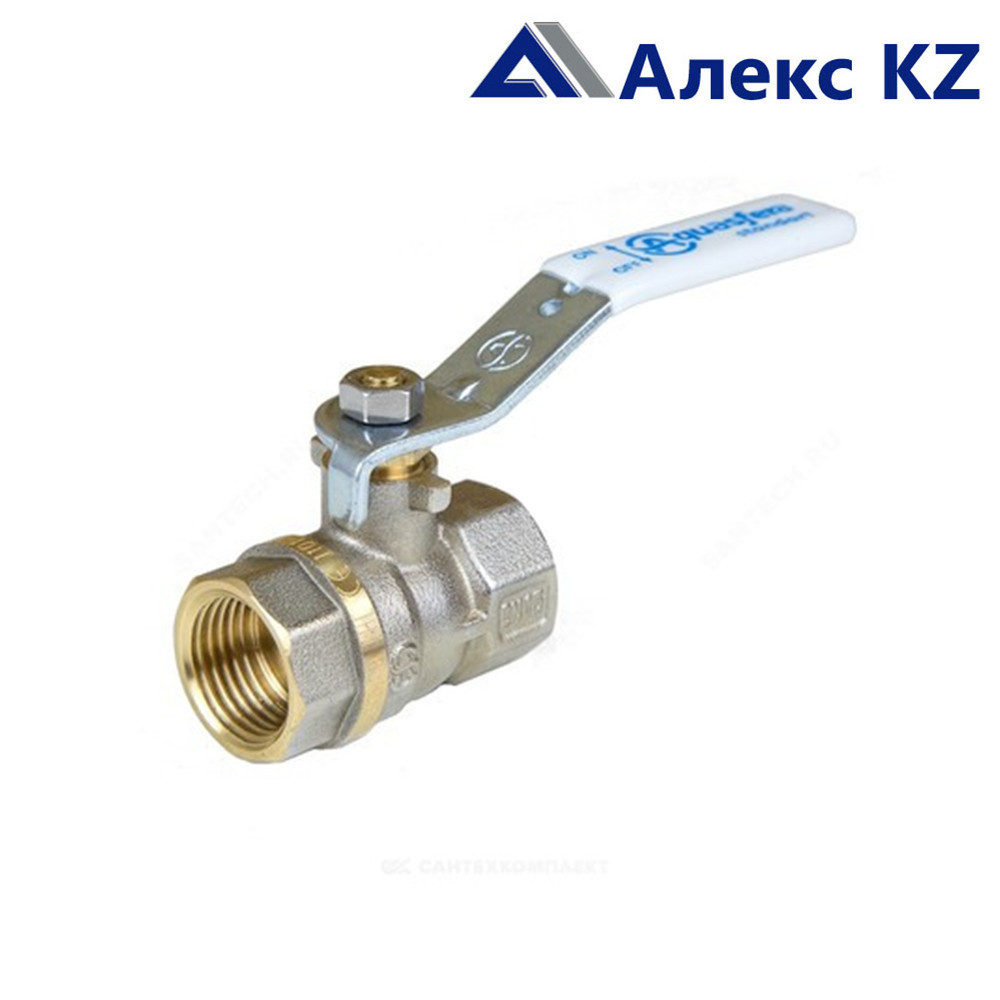Кран шаровой латунь никель Standart Ду32 Ру20 ВР/ВР рычаг Aquasfera