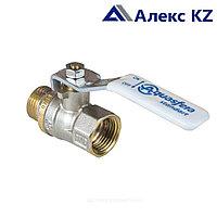 Кран шаровой латунь никель Standart Ду32 Ру20 ВР/НР рычаг Aquasfera