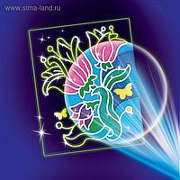 Набор для творчества. Лунная фреска «Цветы», светящийся песок + блёстки