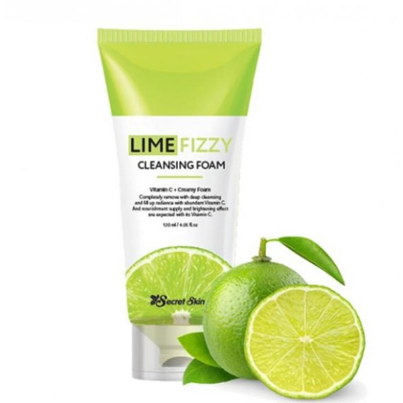 Очищающая пенка для умывания с экстрактом лайма Secret Skin Lime Fizzy Cleansing Foam 120ml.