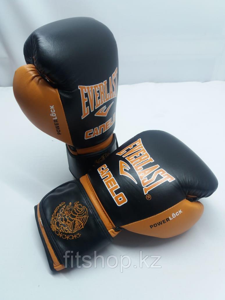Боксерские перчатки Everlast ( натуральная кожа )  цвет черный /оранжевый