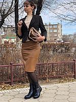 Кожаная юбка французская длина