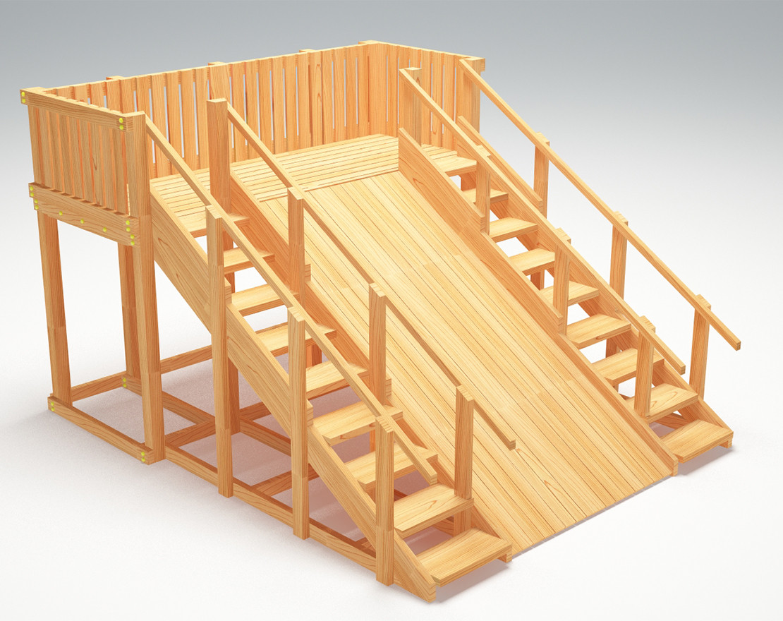 """Зимняя деревянная игровая горка с двумя лестницами Савушка """"Зима wood"""" - 4 (неокрашенная)"""